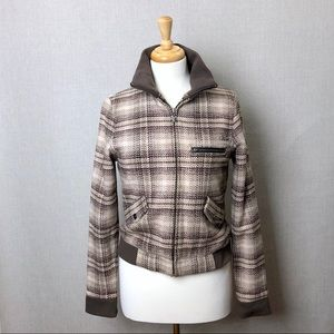 VANS Women's Brown Plaid Bomber Jacket Sz M